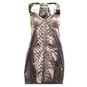Silver Silk Corset Cocktail Dress
